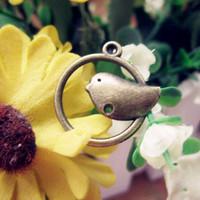 2015 Women Metal Bird Charms DIY Jewelry Vintage Alloy Charms Wholesale 50pcs/bag