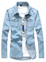 2015 spring slim fit men denim jeans shirts european style casual shirt fashion camisa masculinas free shipping 2 colors CC31