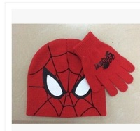 2015 winter newest free shipping 8sets /lot  baby boy cartoon spider man  winter cap+glove  warm cap and glove 2pc set  3-10year