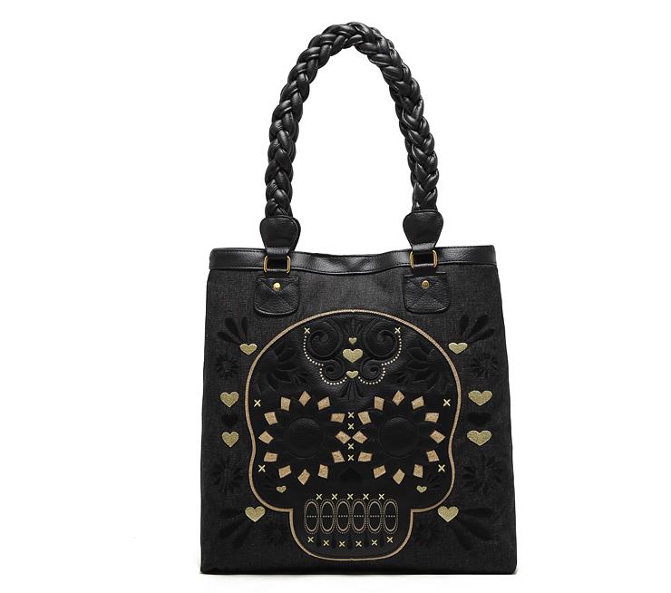 women handbags 2014 designers bags ladies transparent bag Loungefly sugar skull flower tote bag black sac femme free shipping(China (Mainland))