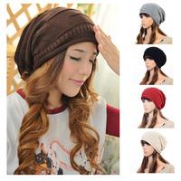 Lady Women's Knit Ski Hat Winter Warm Crochet Hat Braided Baggy Beanie Oversize Cap 954