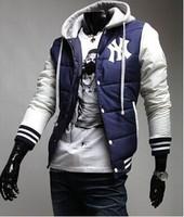 HOT SALE! Baseball Sport Hoodie Winter 3Colors Plus Size S-XXXL Men's Down Jacket Cotton Warm Coat Free shipping