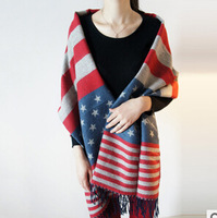 American Flag Scarf Winter women cashmere scarves england pentagram striped large warm shawls top quality free shipping S003