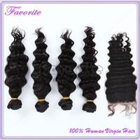 Good Quality Weft with Closure 5PCS 6A Brazilian Virgin Hair Weave, 4pcs Weft with 1pcs Lace Closure Deep Wave Human Hair Bundle