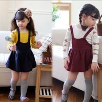 New Arrival 2014 Girls lovely bow dress autumn suspender dress long sleeve Kids cotton dress for Autumn&spring Children clothing