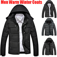 3XL 2014 New Good Quality Outerwear Arrival Men's Fashion Casual Jacket Cotton Coat Winter Men Hooded Collar Thicken Warm Jaket
