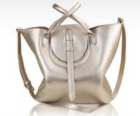 2014 Korean style winter simple candy colored leather handbags vintage bucket bag portable shoulder messenger bag shopping bag