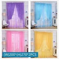 (W)2M*(H)2.7M/PCS yellow blue purple pink rose window gauze decorative organza curtain for bedroom 2PCS/Lot