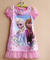 Free shipping new design FROZEN Elsa Anna girl girls summer pajamas nightgown sleepwear nightie dress 8 pcs/lot