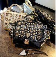 High Quality Shining Luxury Crstyal Leopard Head Rivet Crocodile Grain Bag