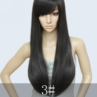 96% Blended human hair ,26inch 200G cheap full wigs #3 Jet black,free shipping
