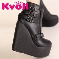 KvollPU black  strap buckle fashion European style  wedges waterproof  ultra high heels women boots free shipping