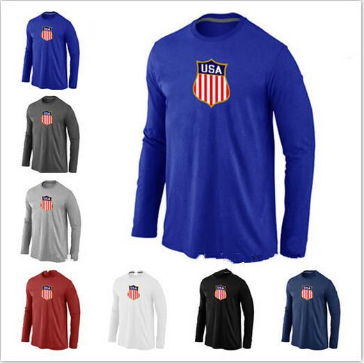 Cheap Team USA Hockey Winter Olympic KO Collection Locker Room Long Sleeve O-Neck 100% Cotton TShirt 7 Color 6 Size(China (Mainland))