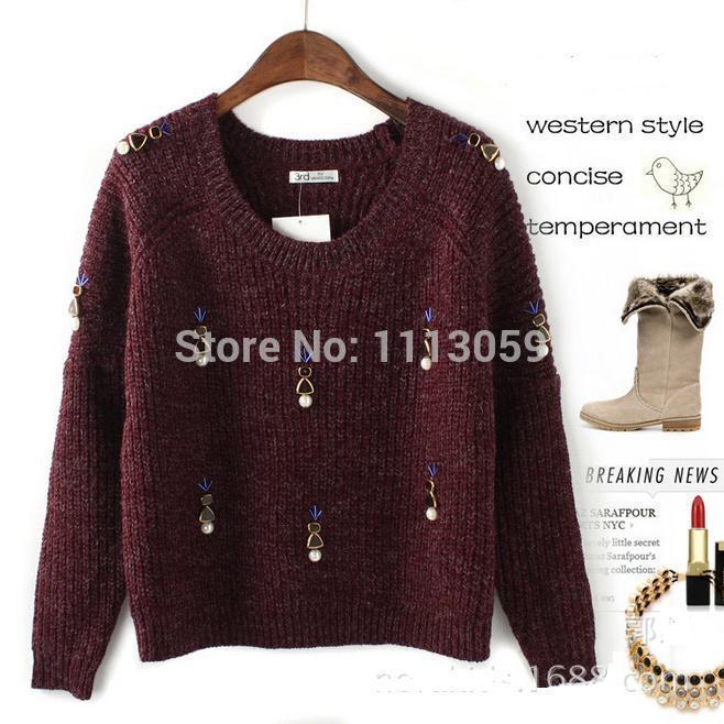 Women's Pearl Diamond Luxury Boutique Thick Wool Angora Sweater,Pullovers(China (Mainland))