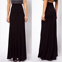 New Womens High Waist Maxi Cotton Full Length Stretchy Skirt