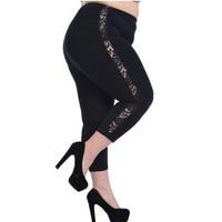 2014 Hot Sales Fat Women Big Size Pants Sexy Lace Hollow Out Capris Trousers Elastic High Waist Plus Size Women Pencil Legging