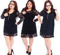 Big Size Clothing Zipper Summer Loose Elegant Dress Full Figure Large 4XL Plus Size Lace Dress High Quality Fat Women Dresses