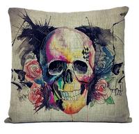 Wholesale! NEW Creative Retro Watercolor skull pillow cushion cover SKULL Linen Pillowcases Home Decor sofa cushions 45*45cm