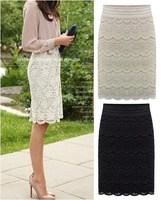 Women Knee Length Lace Pencil skirts Fashion saias femininas 2014 new black beige female grunge Ladies slim office workwear