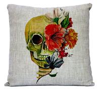 Wholesale! NEW Creative Retro Watercolor skull pillow cushion cover  Flower SKULL Linen Pillowcases Home Decor sofa cushions