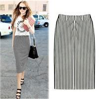 Promotion! Sale 2014 New Fashion Black White Striped Bust Skirts Womens Summer Autumn Female Pencil Knee-Length Midi Skirt Saia