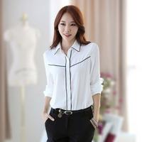 2014 Autumn New Listing Korean Women Fashion Clothing Slim Lapel Women Work Clothing Chiffon Shirt