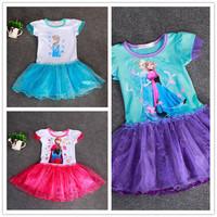 New 2014 Baby Girls Frozen Dress Gilr's Summer Tutu Dress Kids Frozen Sequined Party Dress Children Princess Dress
