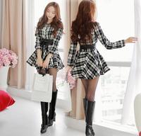 NEW 2014 women fashion Single-row buttons autumn winter vintage Plaid casual long sleeve loose Tutu dress plus size