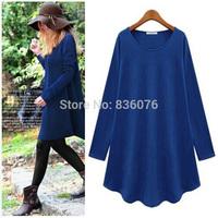 New Fashion 2014 Autumn Winter Dress Women Casual Denim Elegant Plus Size Dresses