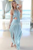 2015 Featuring A Drawstring Fastening Under The Bust Irresistible Khaki Maxi Dress summer cute dress S4479