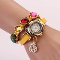 2014 NEW long band genuine Cow leather watches wrap bracelet dress quartz watch moon decoration 100PCS FREE DHL SHIPPING