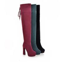women super high heel platform overknee boots laced-up over-the-knee boots green/maroon/black