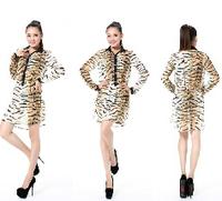 2014Turn-down Collar Fashion Printed Tiger Stripes Chiffon Long-sleeved  shirt,women Casual dress,Tiger stripes dress