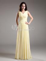 High Quality!! Shipping Fast !! 2014 Yellow Chiffon Bridesmaid Dresses Draped V-neck Women's Bride Dress