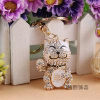 Christmas gift full crystal diamond  lucky cat key chain rhinestone car key ring hing quality bag hang