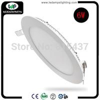 Round 10pcs/lot  6w led flat light with High quality super bright LED Light 110V 220V 230V 240V