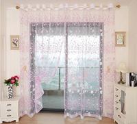 Rustic curtain yarn printed purple floral window screens living room/balcony gauze fabric