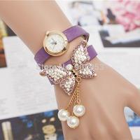 2014 Fashion Long Chain Wrapped Women Leather Bracelet Quartz Watch For Christmas Gift Free DHL Shipping 100PCS