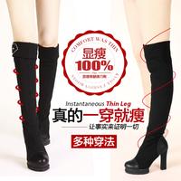 Kvoll black velvet elastic velvet PU pattern diamond ultra high heels knee women's boots free shipping