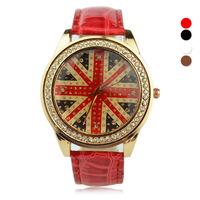 Fashion Britain England UK Flag Pattern Watches Women Quartz Watch Unisex Casual Synthetic Leather Wristwatch yulan