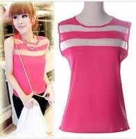New Women Blouses Summer Fashion 2014 Stitching Transparent Chiffon Sleeveless Vest Double Layer Top Quality Chiffon Shirt