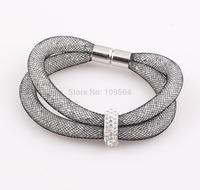 NEW Shamballa Resin Crystal Magnetic Clasp Bracelet Cuff Clasp Chain stardust galaxy Mesh Bracelet Bangle B158