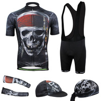 Men Mountain Bike Cycling Bib Short Sleeve Jersey Shorts with Caps Hats Armwarmers Sleeves Set for Sale