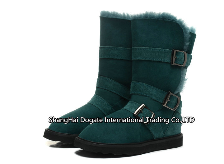 Int'l Brand Genuine natural Australia suede,100% wool lining snow boots 1606 winter boots Buckle Boots New Security Hologram(China (Mainland))