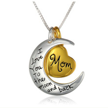 2015 Fashion I Love You Mother Mom Gift Silver Gold Engraved Letter Pendants Statement Choker Necklace Jewelry Wholesale(China (Mainland))