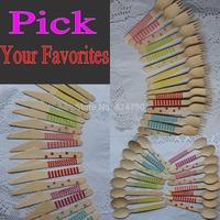 1200pcs Pick Your Colors Wholesale Wooden Utensils Wood Cutlery Silverware Tableware Spoons Forks Knife Stripe Polka Dot Chevron