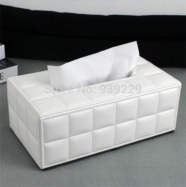 White PU Leather Tissue Box Car Napkin Box Paper Holder Cover Home Decor Free Shipping(China (Mainland))