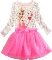 2015 new  girls dress, ELSA & ANNA princess long sleeve dress, Europe and the United States cartoon 100% cotton dress.