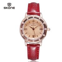 New Arrival Elegant Rhinestone Watch Women Luxury Brand Roman Number Leather Watches Female Free Shipping