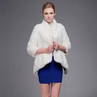 Women white mink fur coat with Chinese mandarin collar and three quarter sleeves Irregular skirt